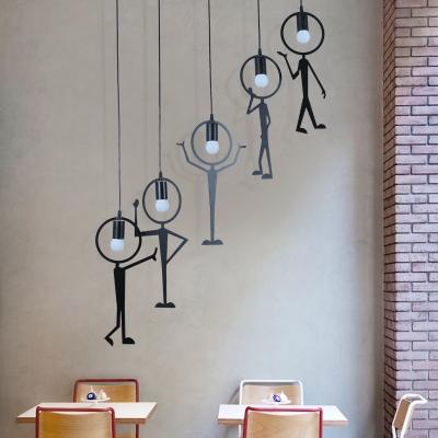 Metal Man LED Hanging Pendant Light Black