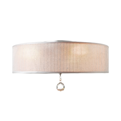 Modern Crystal Flush Mount Ceiling Light With Fabric Drum