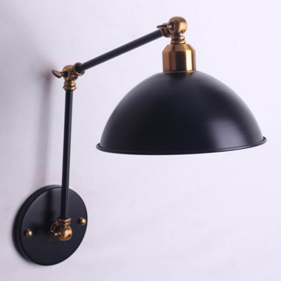 Industrial Dome Wall Sconce Swing Arm in Black
