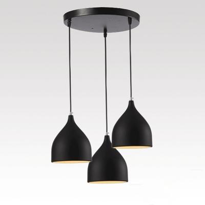 Modern Circular Canopy Multi Light Pendant With Black Teardrop Shade 3 Lights
