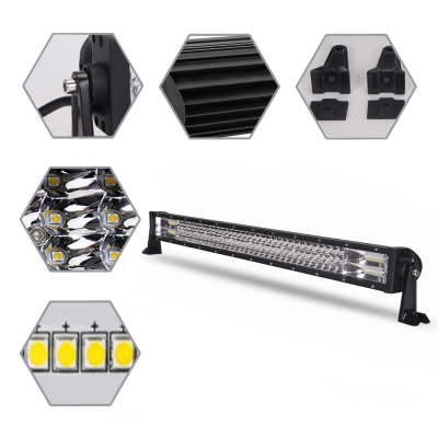 7D+ 32 Inch LED Work Light Bar 405W OSRAM Tri-Row Spot Flood Combo for Offroad 4x4 Jeep Truck ATV SUV 4WD Pickup Boat