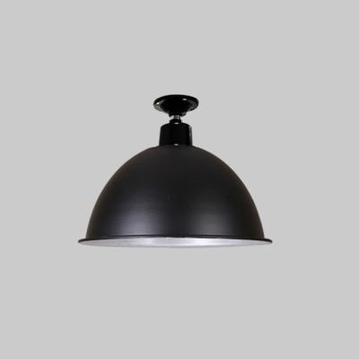 industrial semi flush ceiling fixture in dome shape black silver