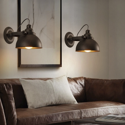 Brushed Bronze Finished Hallway Indoor One Light Sconce with Bowl Shade