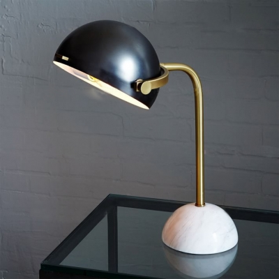 Helmet Table Lamp with Marble Base Black Flexing
