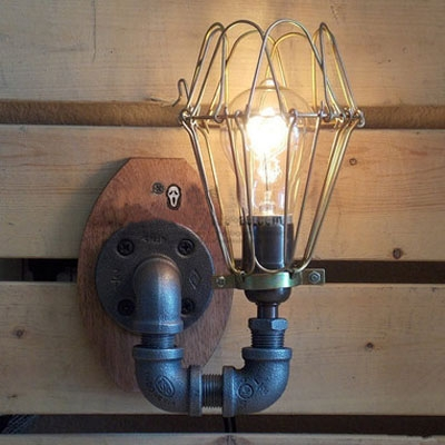 industrial retro wall sconce in black finish 8 6 height