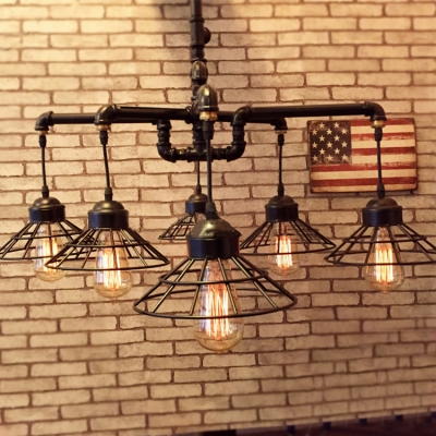 Industrial Vintage Chandelier in Black Finish with Conical Wire Shade, 6 Lights