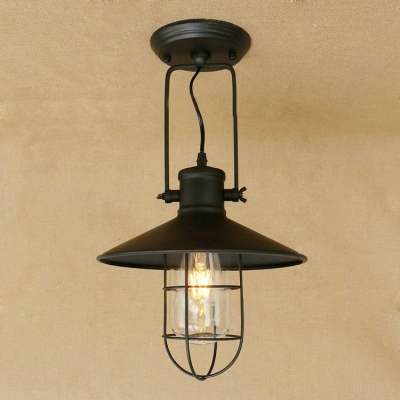 Industrial Hanging Pendant Light with Flared Shade Wire Metal Cage in Black