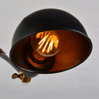 Industrial Wall Lamp Adjustable Arm with Mini Bowl Shade in Black