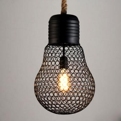 Industrial Hanging Pendant Light 9 Inch High 1 Light in Black HL444165 фото