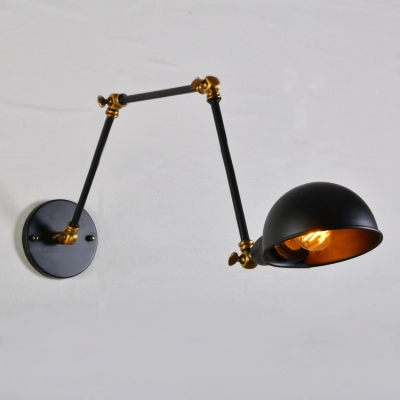 Industrial Wall Sconce Retro Adjustable Arm with Bowl Shade in Black Finish