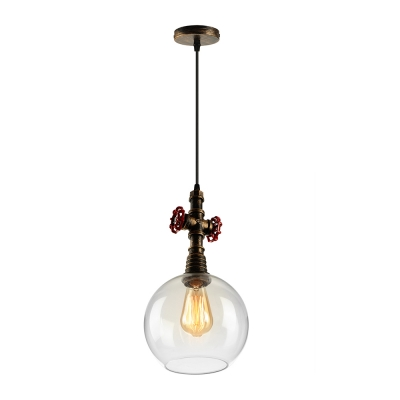 Industrial water valve pendant light in antique bronze finish with industrial water valve pendant light in antique bronze finish with globe glass shade aloadofball Image collections