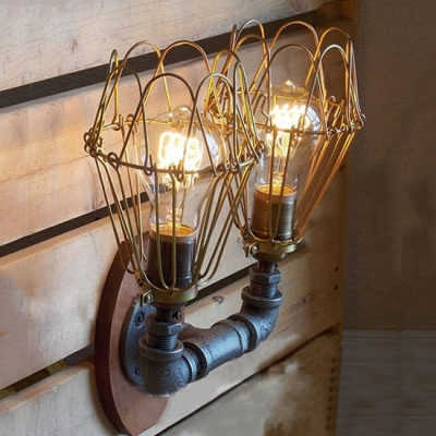 Industrial Loft Vintage Double Light Wall Sconce with Black Wire Cage, Downlighting
