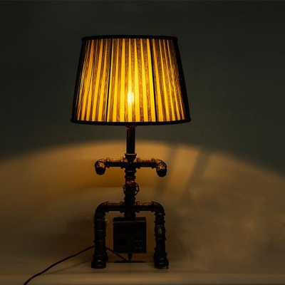 Industrial Robot Table Lamp with Fabric Shade with Socket and USB Port Accent