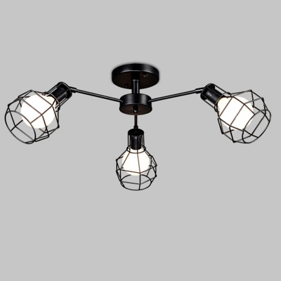 Wire Guard 3 Light Semi Flush Mount Light in Black Finish for Living Room Bedroom Kitchen