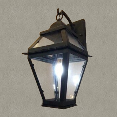 Black 1 light outdoor led wall lamp with clear glass shade mozeypictures Gallery