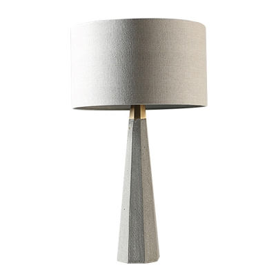 Cement Conical Base Table Lamp with Drum Shade