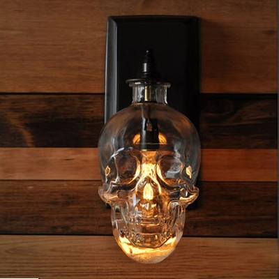 Industrial Wall Sconce Skull, Glass Shade, 1 Light