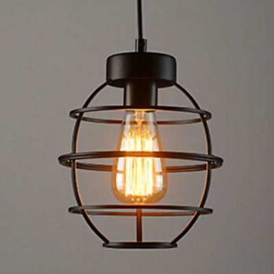 Industrial Hanging Light with Wire Net Metal Cage in Black