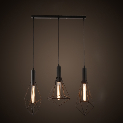 Industrial Multi Pendant Light 3 Light with Wire Net Metal Cage ...
