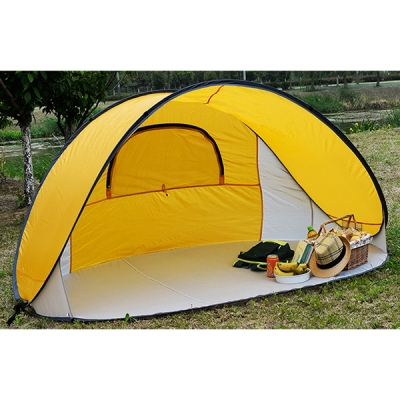 Pop Up Tent 4 Persons 3 Season Sunshade Shelter Portable Beach Yellow Coating 1 3kg