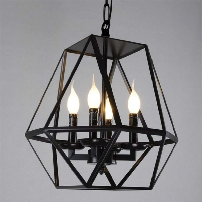 Black 4 Light Diamond Shape LED Chandelier Foyer Pendant Light