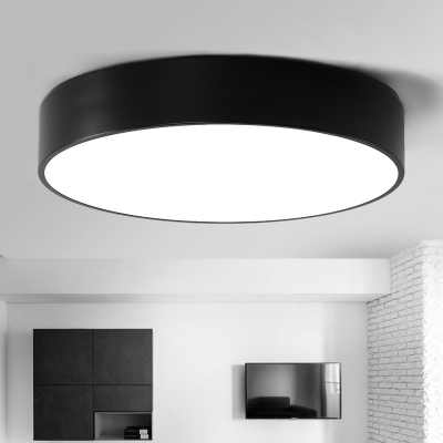 Black Finished LED Round Flush Mount Light Modern, 7 Lights