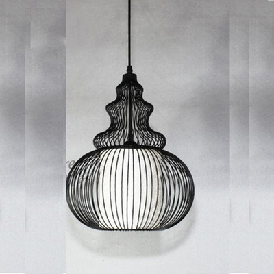 Industrial Hanging Pendant Light with Lagenaria Shade Wire Net Metal Cage for Indoor Lighting HL444278 фото