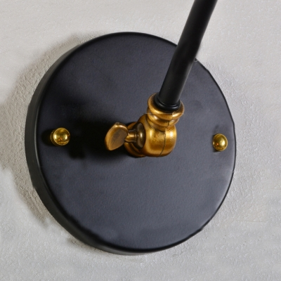Industrial Wall Sconce Single Light with Mini Bowl Shade in Black
