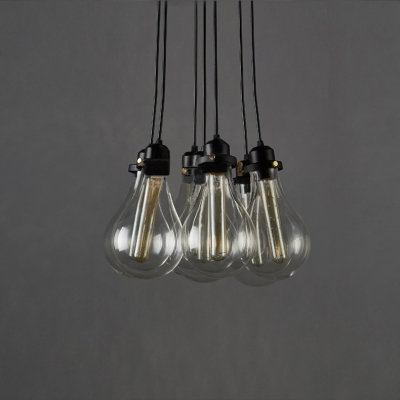 exposed lighting. industrial cluster multilight pendant in exposed edison bulb style lighting