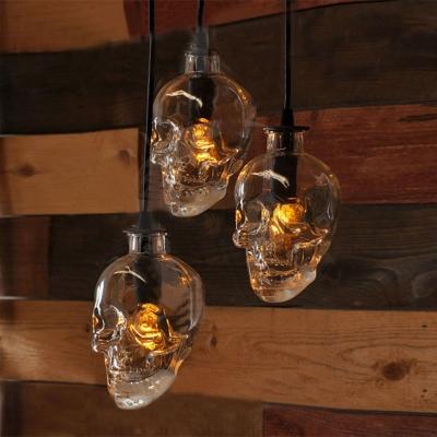 Industrial Hanging Pendant Light Skull, Glass Shade