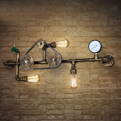 Attrayant Industrial Wall Sconce With Gear, Pressure Gauge And Tap Accent, 3 Lights  40u0027 ...