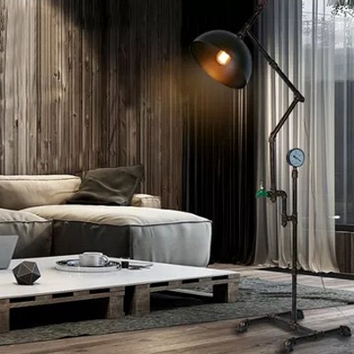 Industrial Water Pipe Water Valve Floor Lamp with Dome Shade, 63'' Height