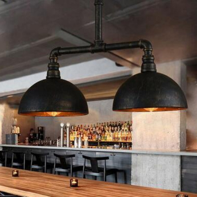 Industrial Dome Shaped Island Light In Black Finish Lights - 2 light island chandelier