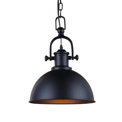 Industrial hanging pendant light handle arm with black bowl shade aloadofball Images