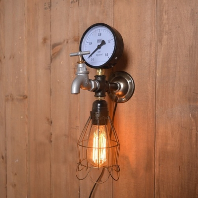 Industrial Loft Wall Sconce with Pressure Gauge and Tap Accent in Antique Bronze Finish
