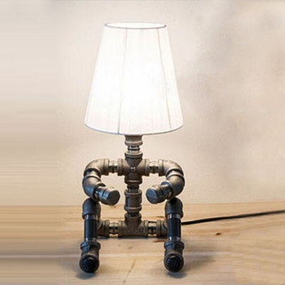 Industrial Sitting Robot Table Lamp in Black/Antique Brozne Finish with Fabric Shade