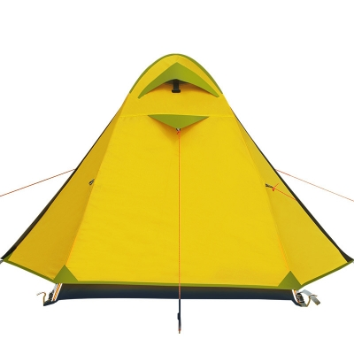 1person backpacking 3season double layer waterproof dome tent yellow