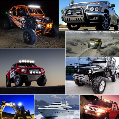 4 Inch Off Road LED Light Bar 27W 60 Degree Flood Beam Car Light For Off Road, Truck, 4WD, BOAT, JEEP, Pack of 2