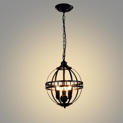 Industrial Orb Chandelier 3 Light with Metal Cage in Black