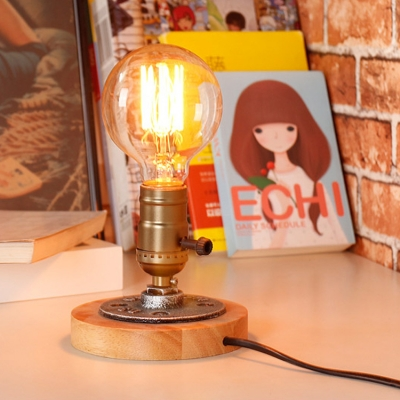 Industrial Retro Style Table Lamp Mini Sized Light Brushed Antique Bronze