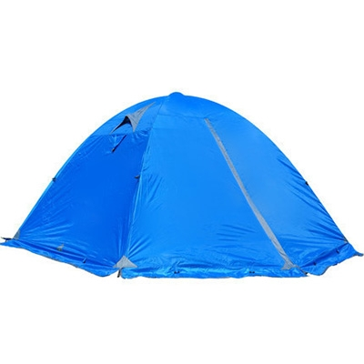 Image of Aluminum Pole Double Layer Windproof 4-Season 3-Person Dome Tent for Winter Camping, Blue