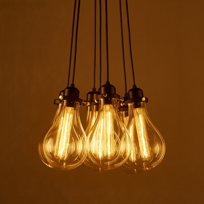 industrial cluster hanging pendant light in exposed edison. Black Bedroom Furniture Sets. Home Design Ideas