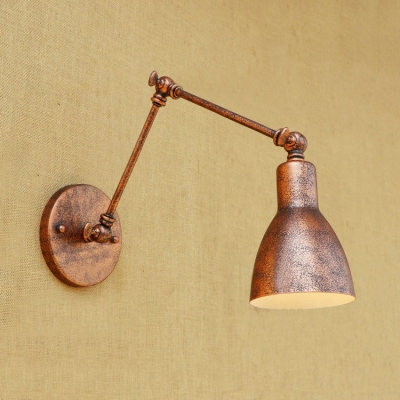 Industrial Adjustable Wall Sconce Vintage in Rust with Conical Shade