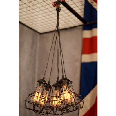 Industrial Vintage Cluster Multi-Light Pendant in Bronze Finish, 6 Lights