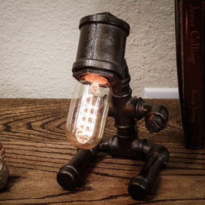 Industrial Baby Robot Table Lamp in Black/Antique Bronze Finish, 9'' Width