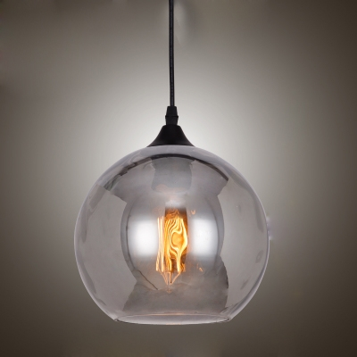 industrial pendant light indoor cleargrey glass globe shade