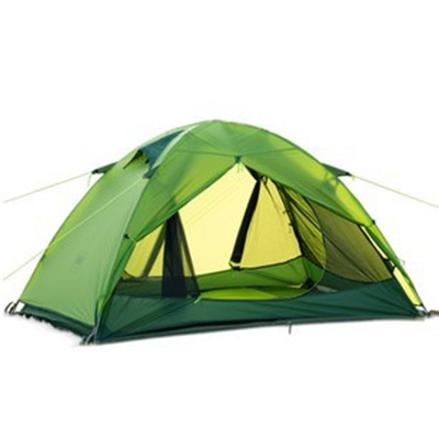 Double Layer 20D Silicone 2-Person Anti-UV 3-Season Dome Tent with Carry Bag, Green, CH444232