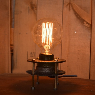 Vintage Industrial Loft Table Lamp in Black Finish, 7'' Height