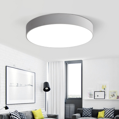 Black Finished LED Round Flush Mount Light Modern 10-15 Lights