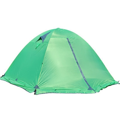 Image of Aluminum Pole Double Layer Windproof 4-Season 3-Person Dome Tent for Winter Camping, Green